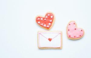 ハートとラブレターのクッキー